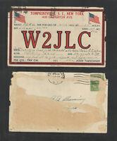 1937 W2JLC QSL CARD TOMPKINSVILLE STATEN ISLAND NEW YORK USED USA