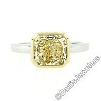 Platinum & 18k Gold 2.55ct GIA Fancy Yellow Diamond Solitaire Bezel Set Ring