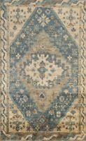 Geometric Traditional Oushak Outdoor Oriental Area Rug Hand-Knotted Carpet 6'x9'