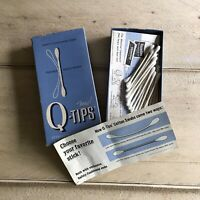Vintage Q-TIPS Cotton Swabs Box w/ Paperwork & Swabs Collectible Movie Prop VTG