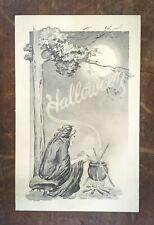 VIntage Fairman Halloween Postcard - A Witch and Her Cauldron, Unused