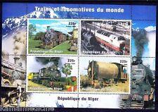 Niger 1998 MNH SS, Railways, Train, Steam Engines Locomotives