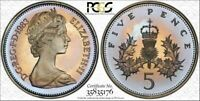 1983 GREAT BRITAIN 5 PENCE PCGS PR67DCAM BEAUTIFUL TONED POP 5 ONLY 1 HIGHER