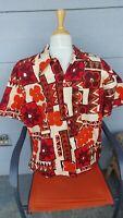 XL Men's Vintage 1950s Made In California Tapa Aloha Shirt Hawaiian