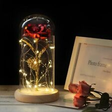 Wedding Party Mothers Day Gift Gold Plated Red Rose With LED Light In Glass Dome