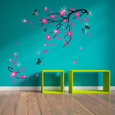 Wall Sticker Decal Pink Blossom Flowers with  Swarovski Crystals Decorations Art