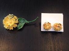 Nice! Sandor Enamel FLOWER + butterfly BROOCH EARRINGS Set costume jewelry