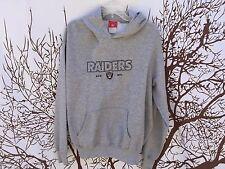 NFL Oakland Raiders Men Embroider Gray Pullover Sweatshirt Hoodie Jacket Medium