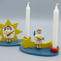 Vintage Erzgebirge Wood Orchestra Angel on Star Christmas Candle Holders Germany