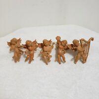 Cherub Angel Christmas Tree Holiday Ornaments Lot 5 Playing Instruments Harp
