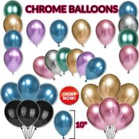 "10-50 PEARL LATEX METALLIC CHROME BALLOONS 10"" Helium Baloons Birthday Party PD"