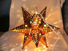 "Beautiful Copper colored  12"" Mexican Punched tin  lighted Star with marbles"