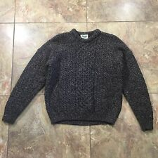Carraig Donn Irish Aran Stitch 100% Wool Thick Celtic Sweater, Men's Gents Large