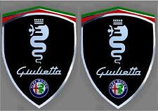 2 stickers ALFA ROMEO GIULIETTA chrome à coller sur les ailes avant