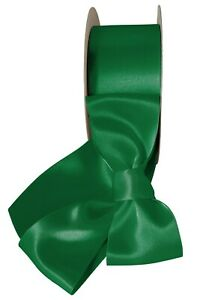 """10 Yds Forest Emerald Green Double Faced Satin Ribbon 7/8"""" """"W"""