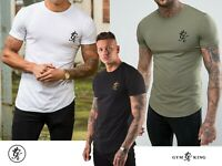 Gym King Men's Curved Hem Long-line Slim Fit TEE Shirt