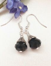 Victorian Vintage Style Little Black/Silver Bead Drop Earrings Gothic/Retro UK