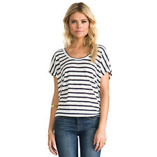 Joie Maddie 100% Linen Porcelain/Blue Striped Scoop Neck Top Large