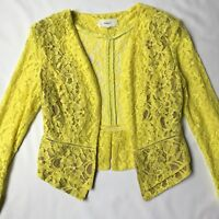 August Yellow Lace Cropped Jacket, Sheer Detail Open Blazer Dressy Casual Size 6