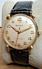 "EXTRA FINE~1962 Bulova~""SEA KING"" 17J Swiss Gold Plated Mens Watch-NEW STRAP"