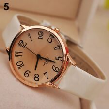 Ladies Fashion Geneva Rose Gold Beige Tone Dial Quartz White Band Wrist Watch.