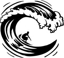 LARGE surfing surfer riding the big waves van car bonnet sticker side decal vw