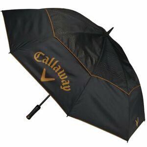 """Callaway Golf Women's Uptown 60"""" Double Canopy Umbrella NEW Black Brown"""
