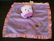 Circo Owl Lovey Security Blanket Plush Bird Satin Purple Pink Repaired Stain