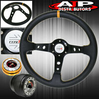 For 00-05 Eclipse Hub Gold Release Deep Dish Black Steering Wheel Yellow Type-R