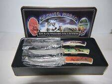 Set of 3 Wildlife Outdoor Collection Fixed Blade Maxim Knives Wolf, Deer, & Bear