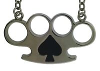 Rock Rebel Necklace  Brass Knuckle Silver Gothic Tribal Tattoo Metal Ace Spade