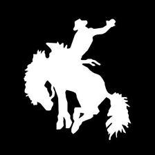 BUCKING HORSE & COWBOY RODEO SILVER  car sticker vinyl decal window van car door