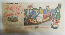 7-Up Ad: Fresh Up With Seven-Up! Family Boating ! from 1950's  7.5 x 15 inches