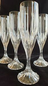 """(4) PARK LANE by Mikasa Crystal CHAMPAGNE Flutes Glasses 8 3/4"""" MINT CONDITION"""