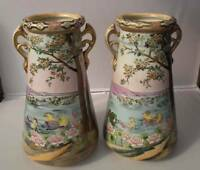 A Pair of 2 Antique Imperial Nippon Japanese Porcelain Vases Signed Nippon
