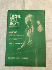SPARTITO CANZONE DEGLI AMANTI PATTY PRAVO UNITI RENATO D'INTRA POP 1967