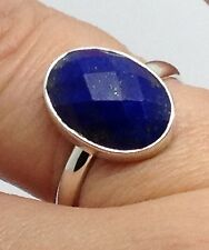 Lapis Lazuli Ring Faceted Oval Sterling Silver UK Size P 1/2 New, Actual One. UK