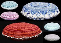 Indien Handmade Tapisserie Mandala Sol Rond Taie Oreiller Coussin Ottomane Pouf