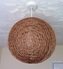 Large Vintage Wicker Rattan Lampshade Woven Globe Pendant Uplighter Ceiling