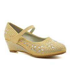 New Childrens Diamante Party Shoes Girls Low Heel Bridesmaid Mary Jane Sandals