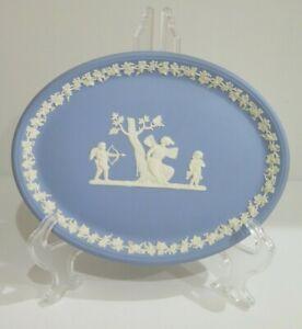 Wedgwood Blue Jasper Ware Oval Platter Cupid England