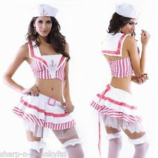 Ladies 3 Piece Sexy Pink White Sailor Navy Hen Do  Fancy Dress Costume Outfit