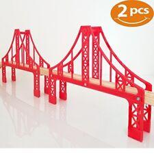 Double Suspension Bridge Wooden Train Set Accessories Thomas 2 Red Bridges Brio