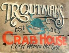 """TIN SIGN """"Troutmans Crab House"""" Seafood Deco Garage Wall Decor"""