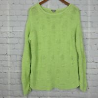 J Jill Womens Long Sleeve Sweater Handknit Open Knit Drop Shoulder Green Sz M