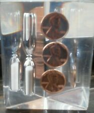 1975 copper penny Paper weight sand egg minute timer in clear Lucite glass Tri