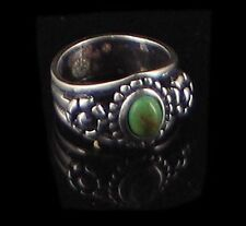 Sterling Silver REAL Green Turquoise Flower Ring sz 6.5