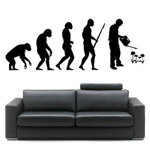 EVOLUTION OF MAN GARDENING GARDENER DARWIN wall art sticker room decal