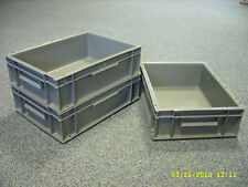 10 New Plastic Storage Crates Box Container 10L Grey