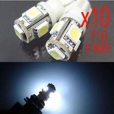 10x 5 SMD LED 501 T10 W5W PUSH WEDGE CAPLESS WHITE SIDE LIGHT BULBS 5000K 6000K